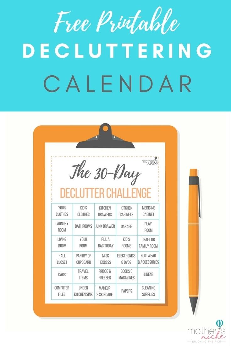 How To Organize Your Life With The 30 Day Declutter Challenge intended for 30 Day Declutter Challenge Printable