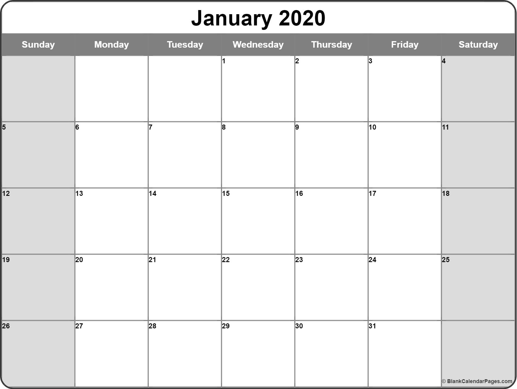 January 2020 Calendar | Free Printable Monthly Calendars in 2020 Free Printable Calendars Without Downloading Monthly
