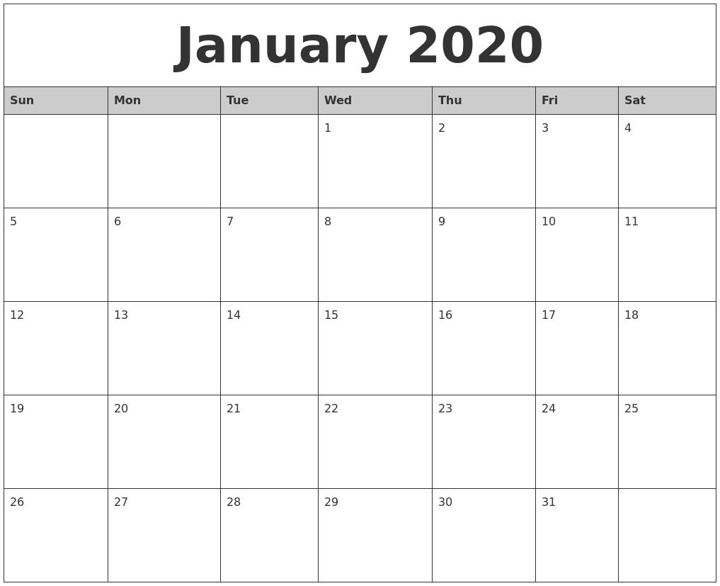 January 2020 Monthly Calendar Printable inside 2020 Monthly Calendar Start Monday