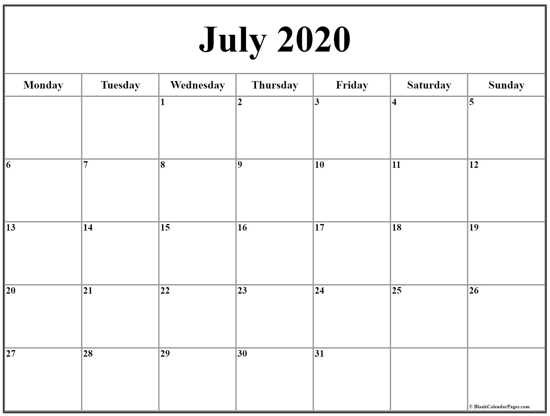 July 2020 Monday Calendar | Monday To Sunday with regard to 2020 Calendar Starting With Mondays