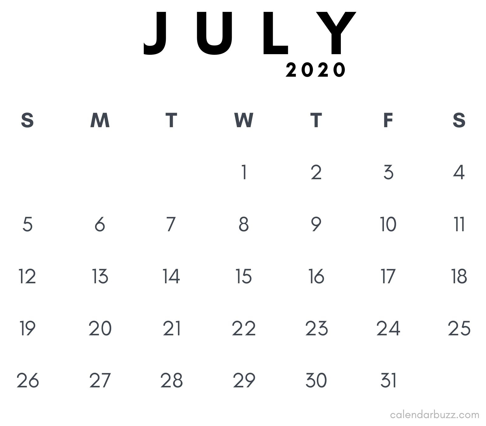 July 2020 Pdf Calendar Printable | Calendarbuzz with regard to Free Printable Calendar 2020 Waterproof