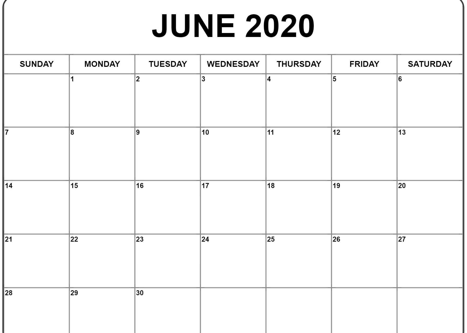June 2020 Calendar | Printable Calendar Template, Calendar intended for Free Printable 2020 Calendars You Don't Have To Download