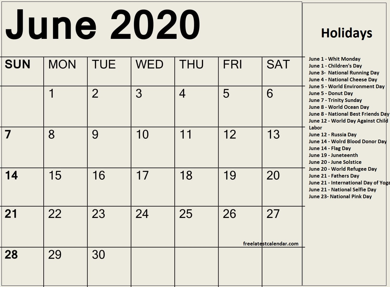 June 2020 Calendar With Holidays And Special Days - Free within Special Days On Calender For 2020
