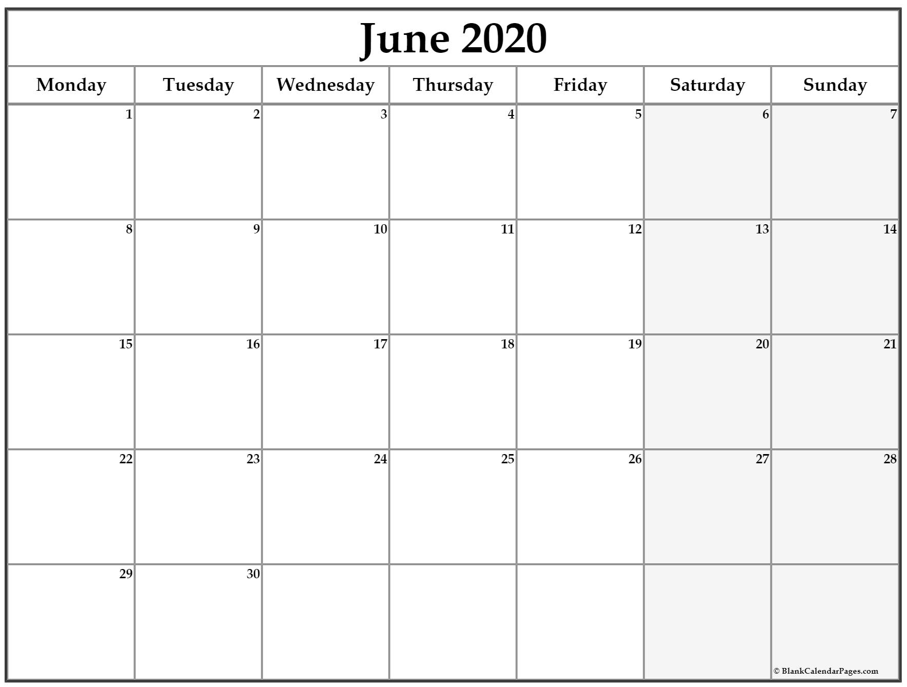 June 2020 Monday Calendar | Monday To Sunday with Calendar Sunday To Saturday 2020