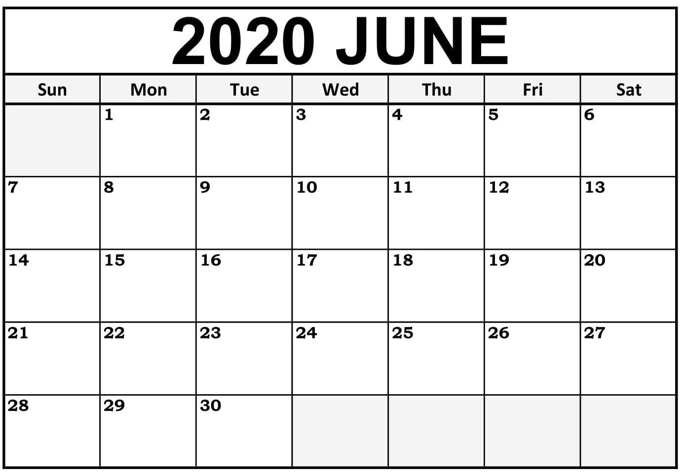 June 2020 Printable Calendar Free Waterproof - Free for Free Printable Calendar 2020 Waterproof
