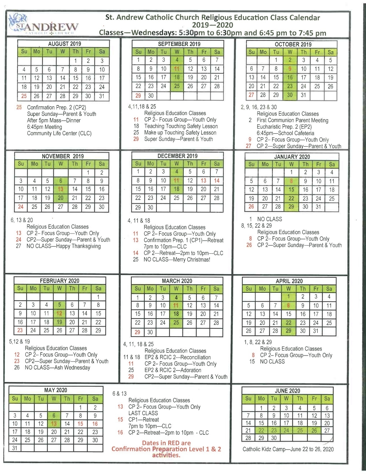 Liturgical Calendar - St. Andrew Catholic School inside Liturgical Calendar 2019 2020 Catholic