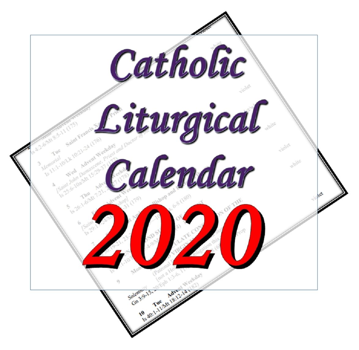 Liturgytools: Catholic Liturgical Calendars For 2020 for Liturgical Calendar 2019 2020 Catholic