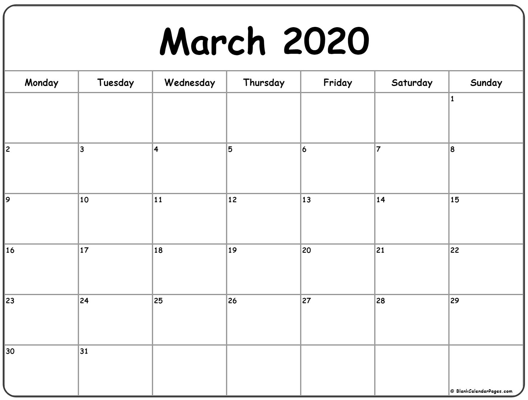 March 2020 Monday Calendar | Monday To Sunday intended for 2020 Calendar That Starts With Monday