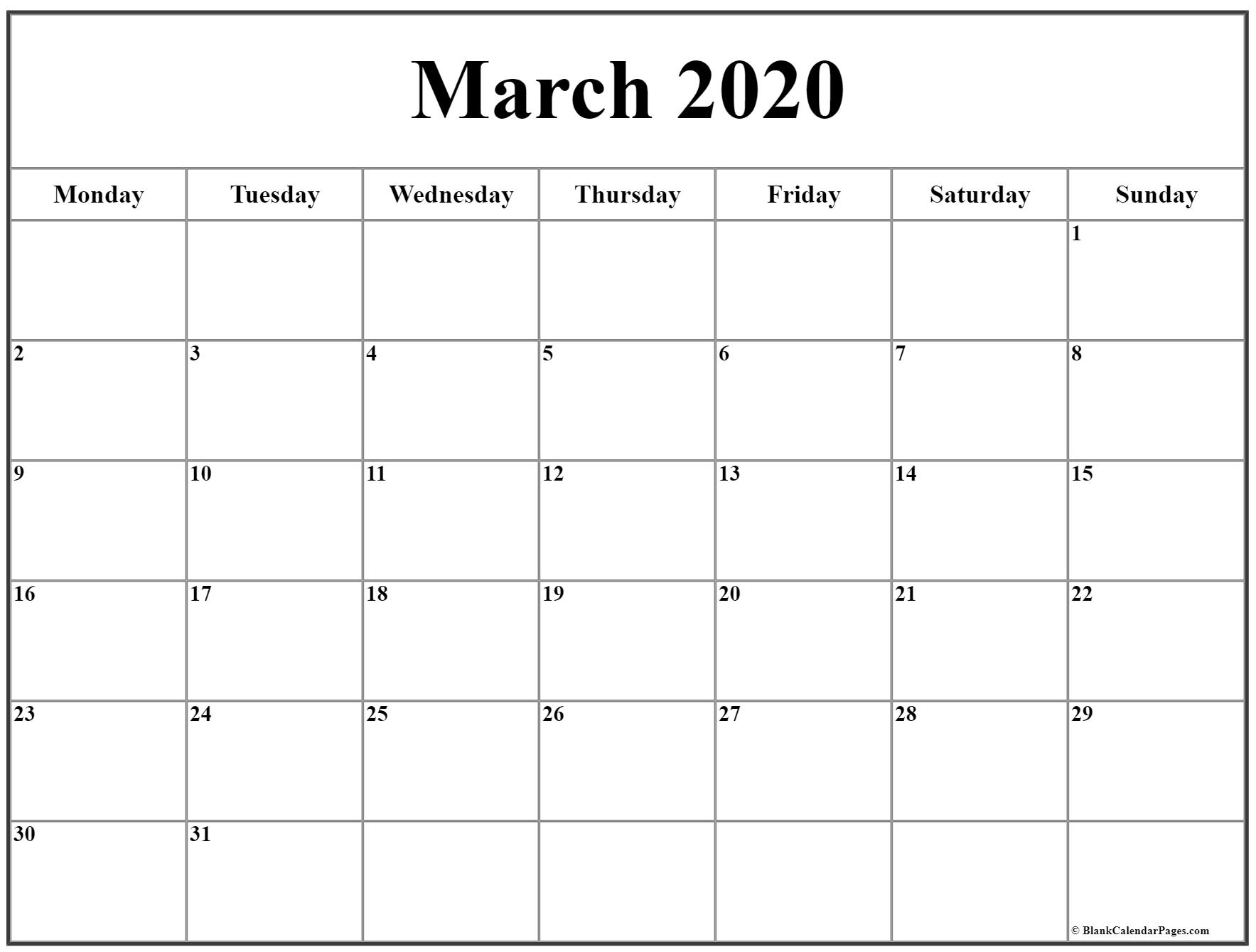 March 2020 Monday Calendar | Monday To Sunday intended for Calendar Sunday To Saturday 2020