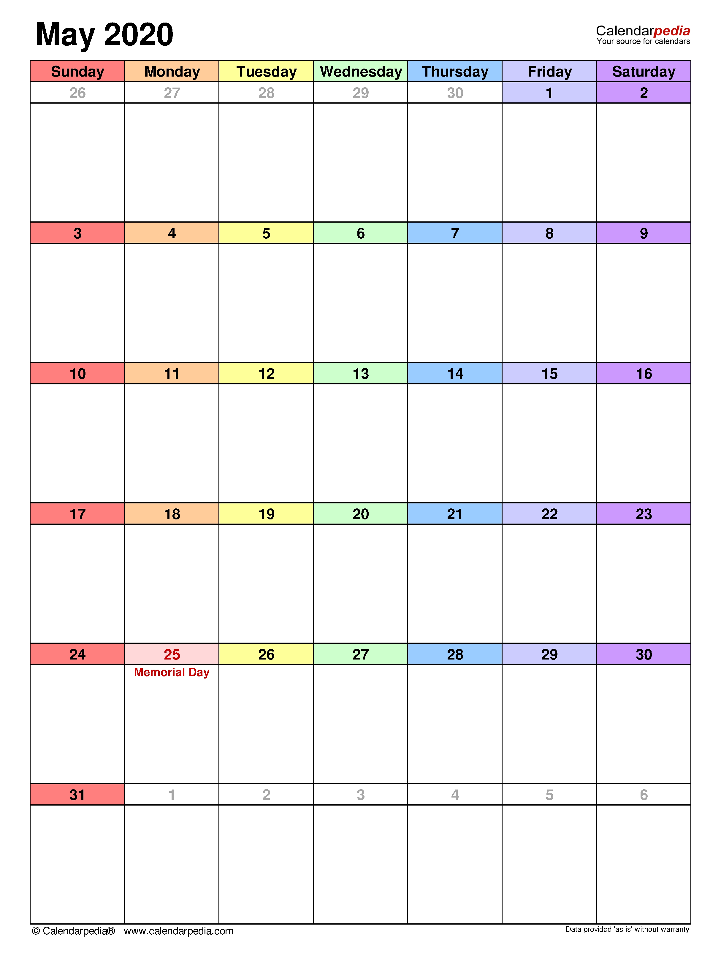 May 2020 - Calendar Templates For Word, Excel And Pdf with One Week Per Page 2020