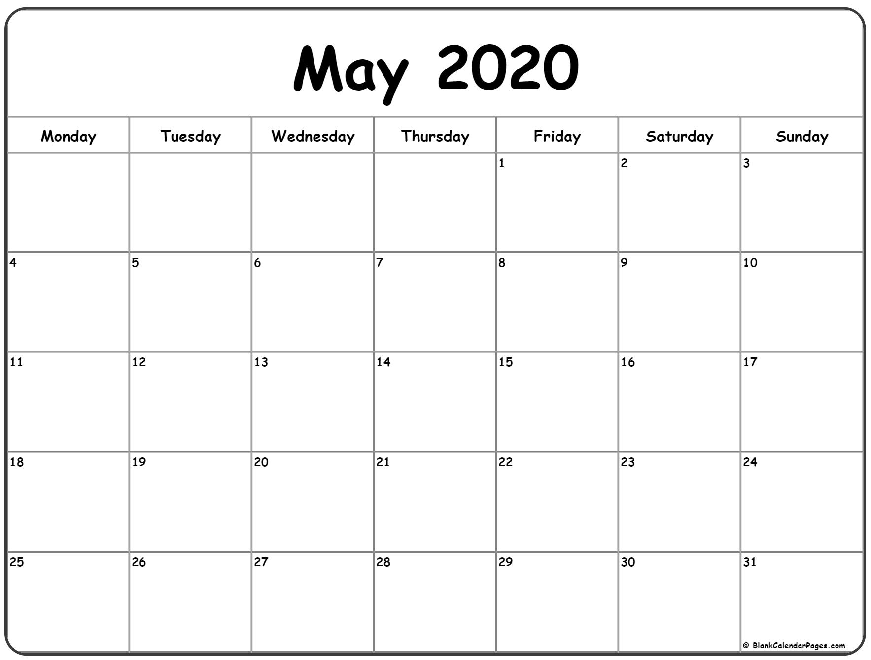 May 2020 Monday Calendar | Monday To Sunday for 2020 Calendar Starts On Monday