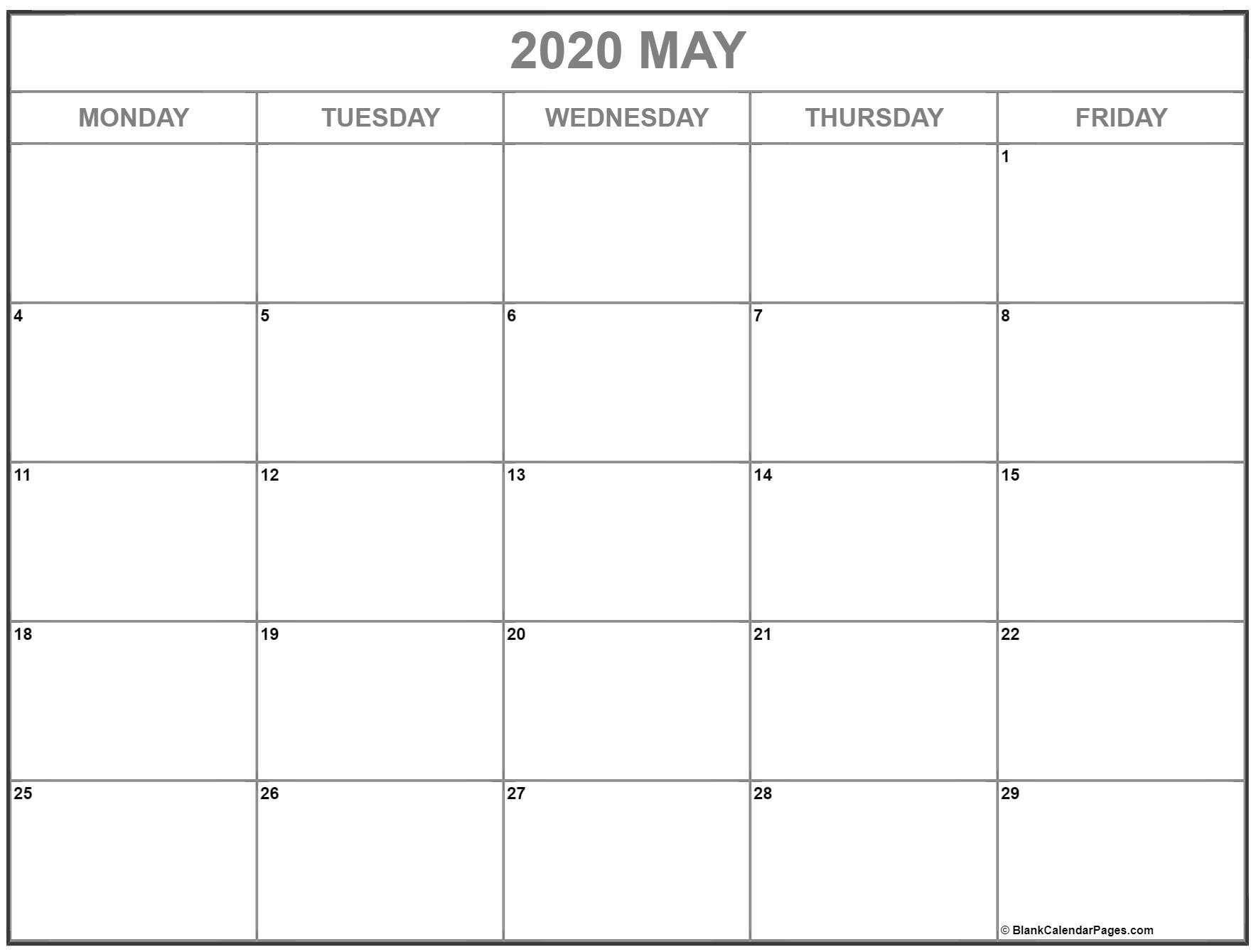 May 2020 Monday Calendar | Monday To Sunday intended for 2020 Monday To Sunday Calendar Printable