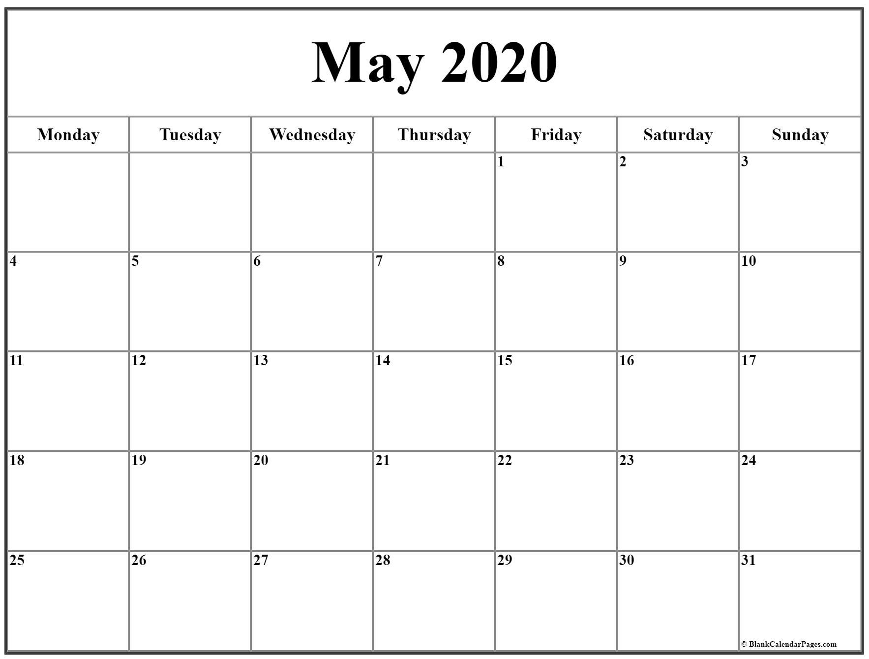 May 2020 Monday Calendar | Monday To Sunday regarding 2020 Calendar Starts On Monday
