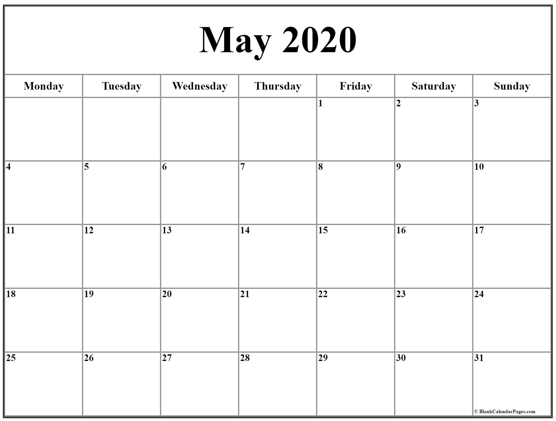 May 2020 Monday Calendar | Monday To Sunday throughout 2020 Monday To Sunday Calendar Printable