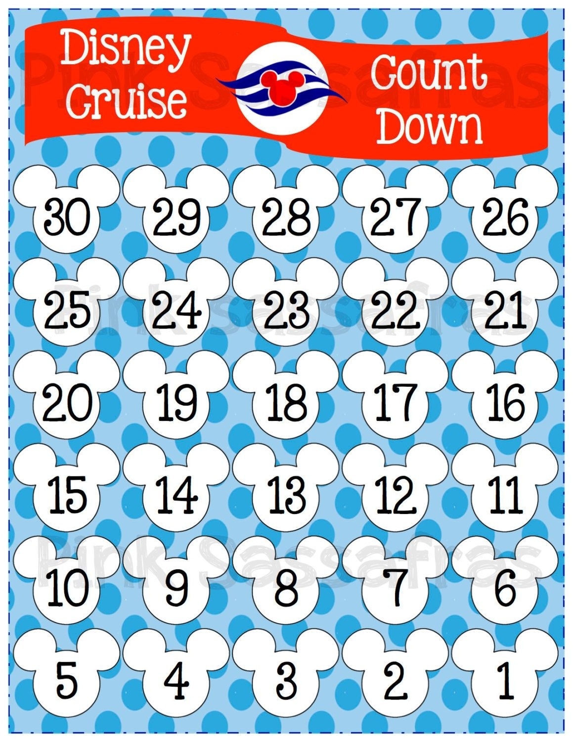 Mickey Mouse Disney Cruise Printable Countdown | Disney intended for Disney Cruise Countdown Calendar Out Of Paper