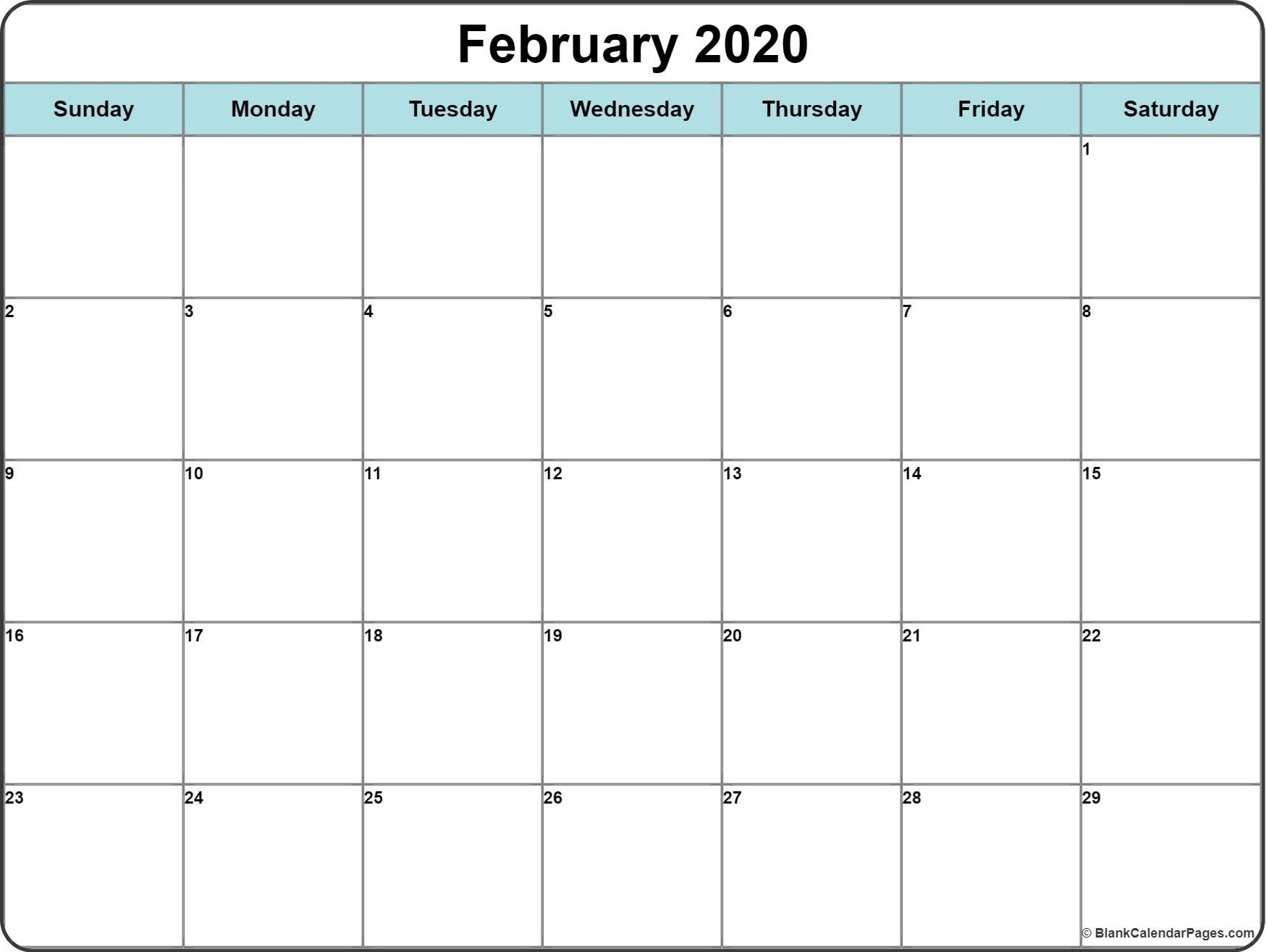 Monthly 2020 Printable Calendar Template | Printable intended for Free Printable Monthly 2020 Calendar