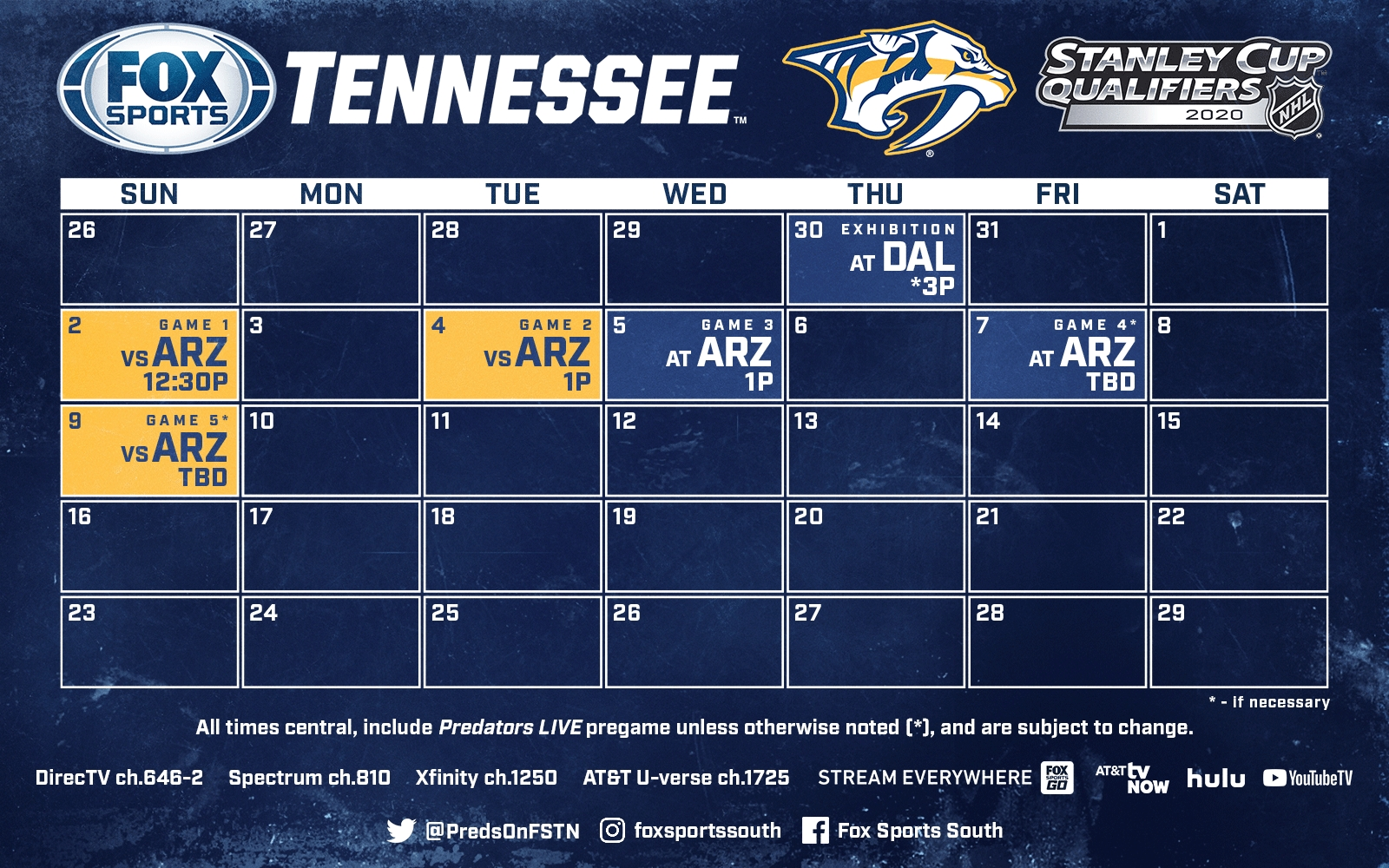 Nashville Predators Schedule: 2019-2020 Season | Fox Sports throughout Nashville Predators Schedule 2019 2020