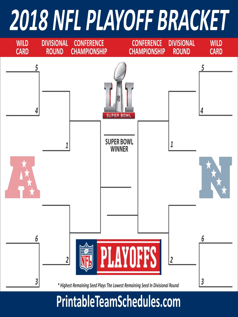 Nfl Bracket Maker - Fill Online, Printable, Fillable, Blank with regard to Nfl 2019-2020 Remaining Printble Schedule