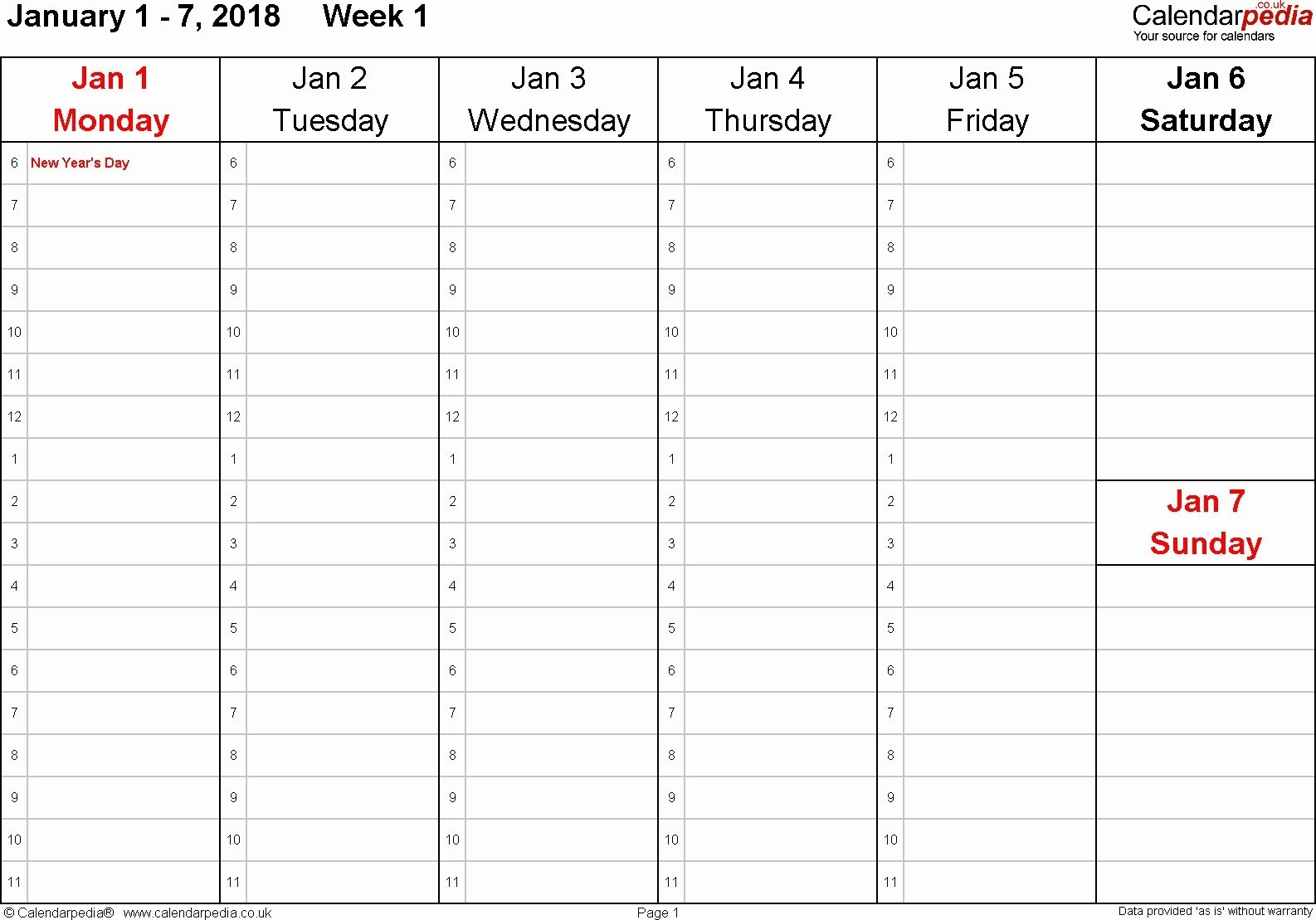 One Week Calendar With Hours In 2020 (With Images in One Week Calendar With Hours