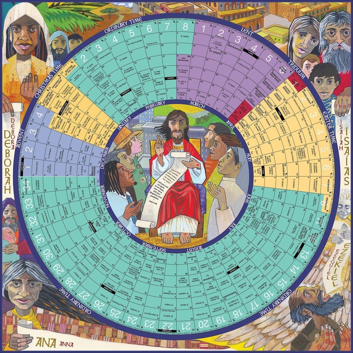 Poster Size, 26 X 26, Paper. A Circular Liturgical Calendar with Liturgical Calendar 2019 2020 Catholic