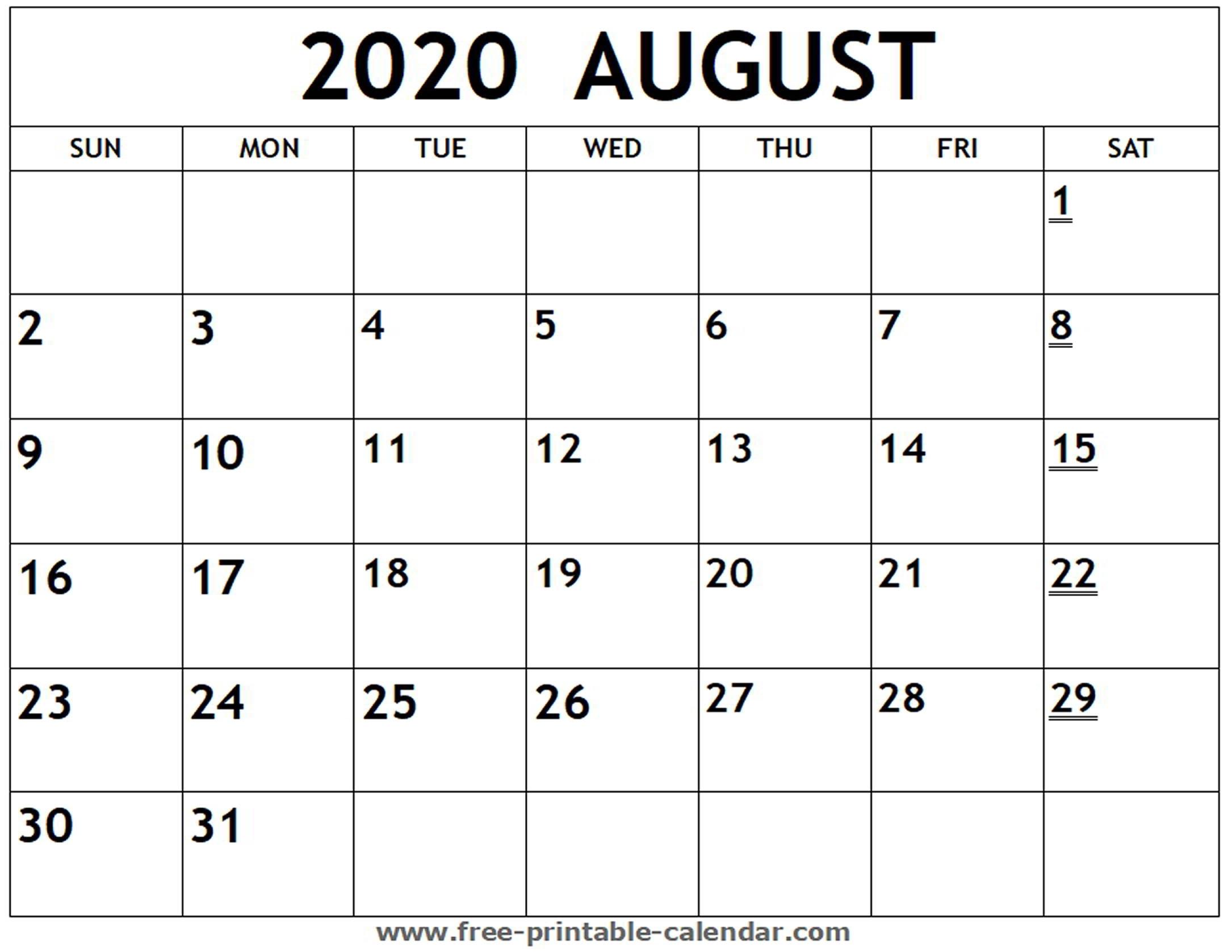 Printable 2020 August Calendar - Free-Printable-Calendar intended for Printable Fill In Calendar 2020