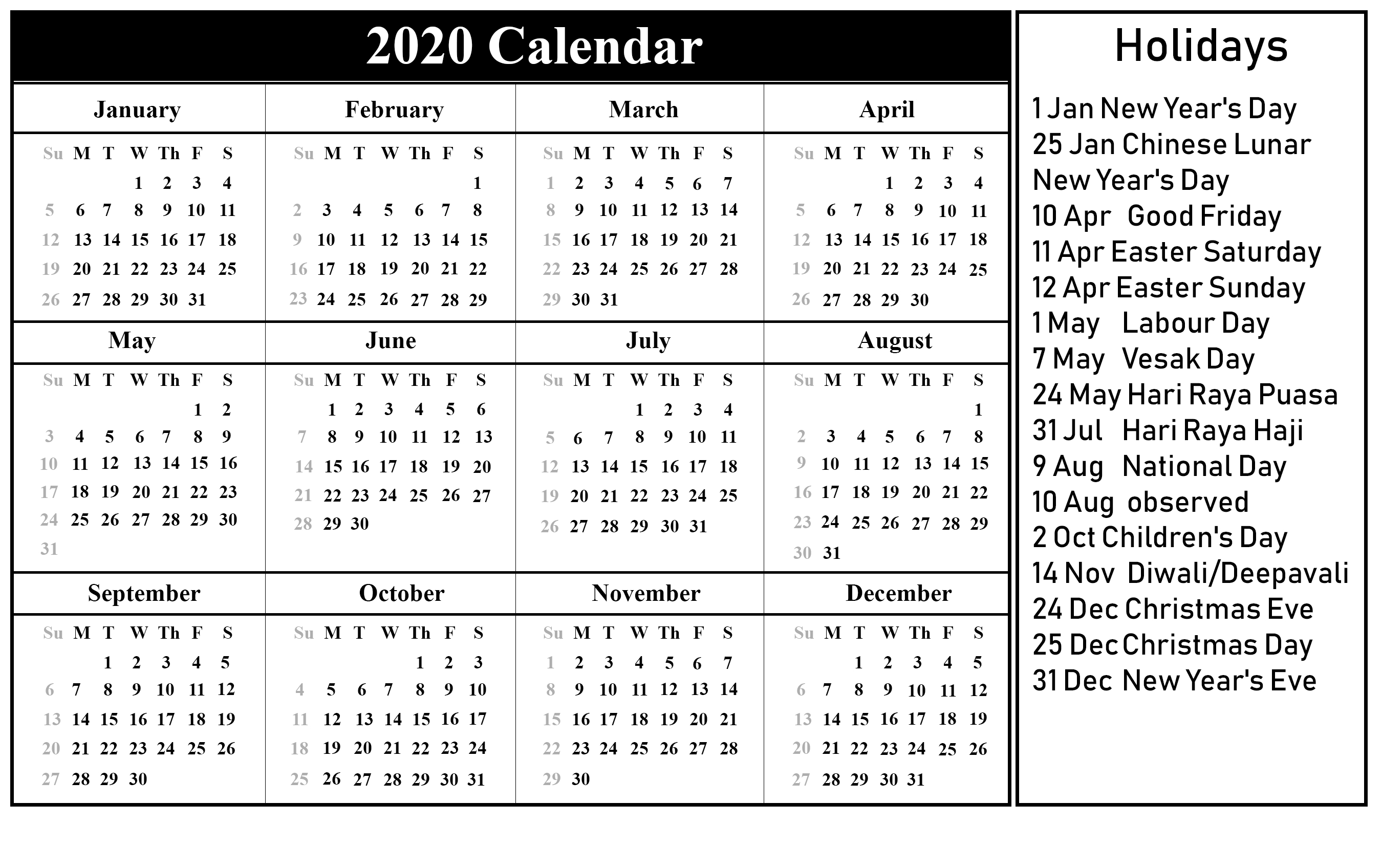 Printable 2020 Calendarmonth With Holidays | Printable intended for Calendar Sunday To Saturday 2020