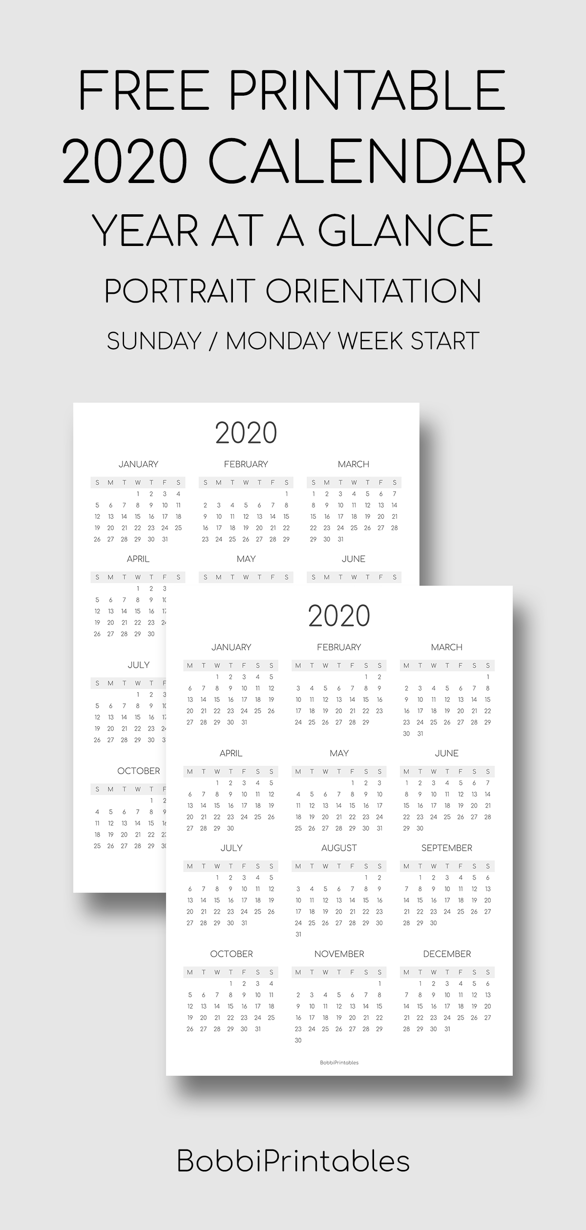 Printable 2020 Year At A Glance Calendar - Portrait throughout Free 2020 Year At A Glance Calendars