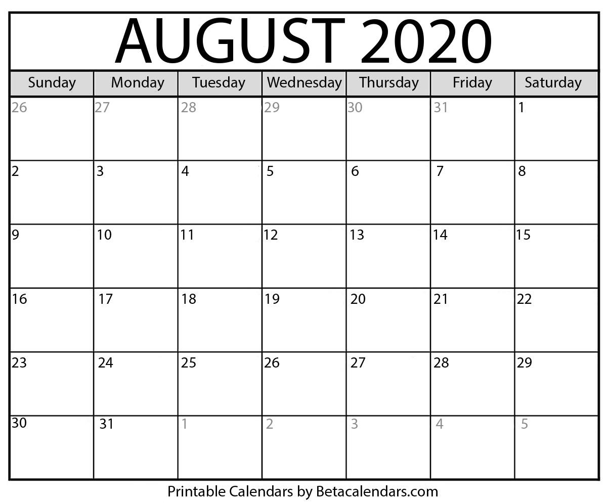 Printable August 2020 Calendar - Beta Calendars intended for Printable Fill In Calendar 2020