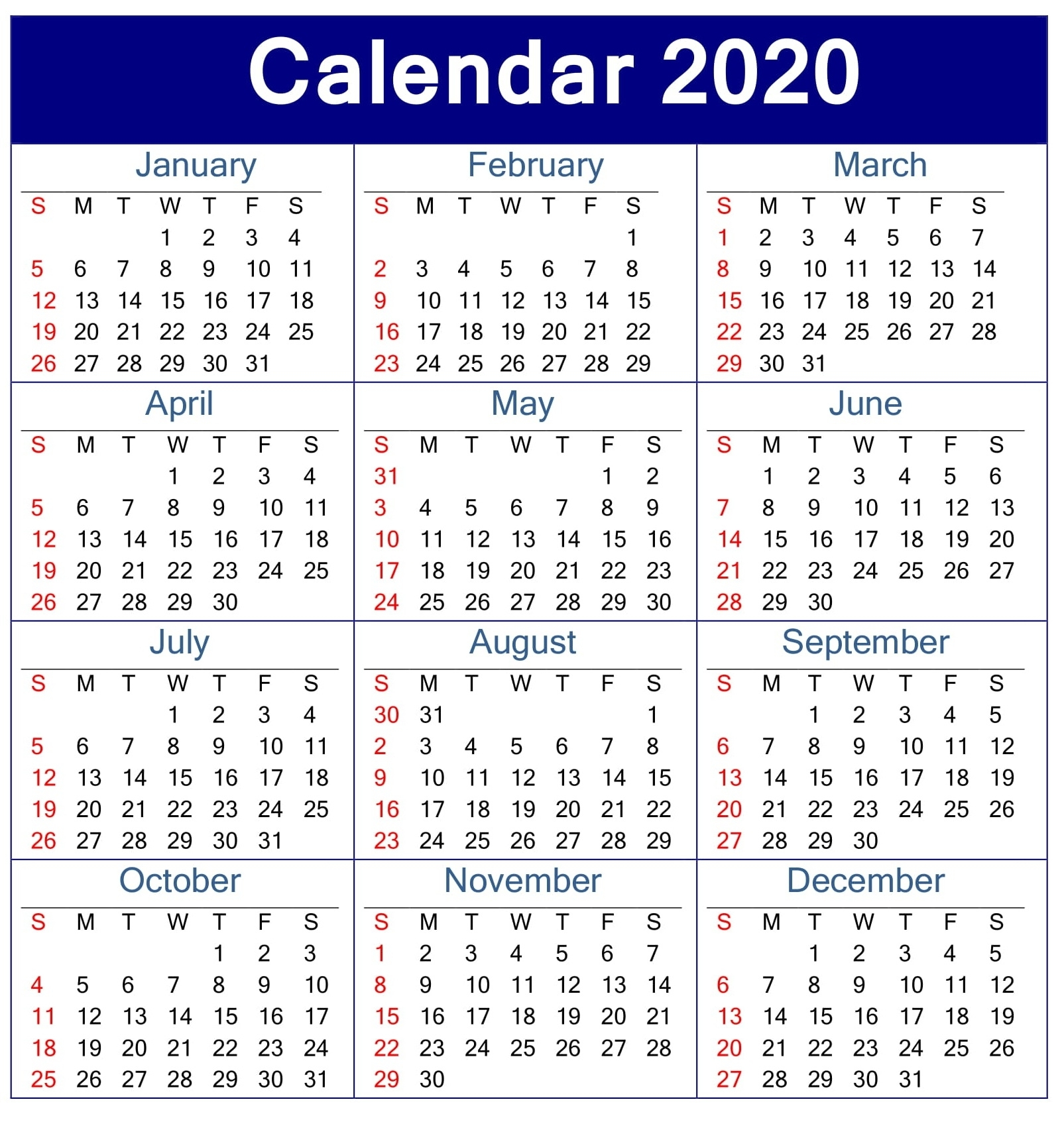 Printable Calendar 2020 Pdf Template For Landscape And Vertical pertaining to Employee Attendance Calendar 2020 Printable