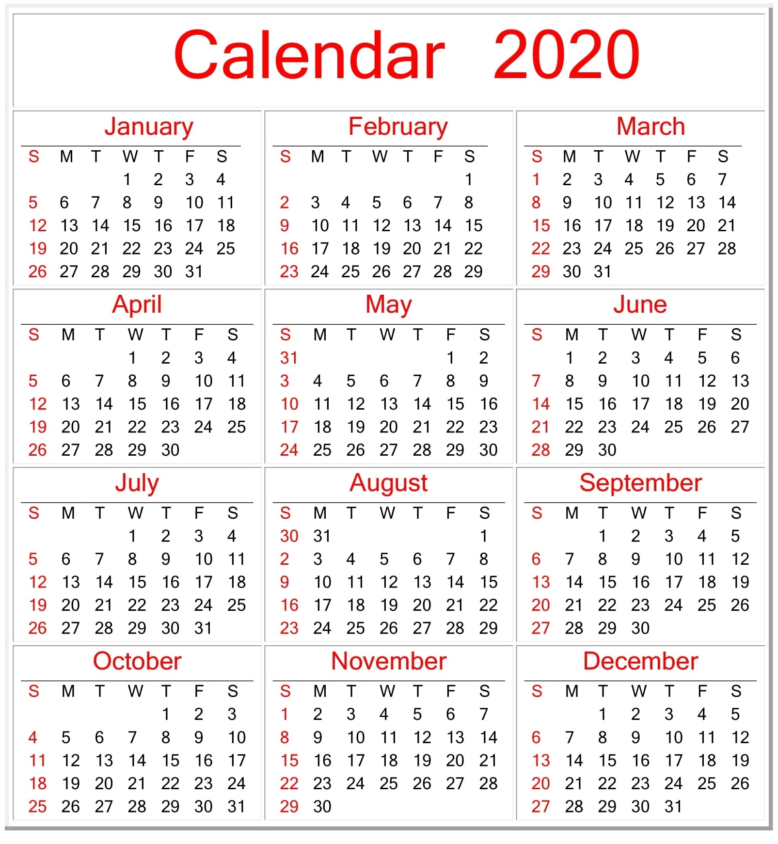Printable Calendar 2020 Pdf Template For Landscape And Vertical with Free Printable 2020 Calendars You Don't Have To Download