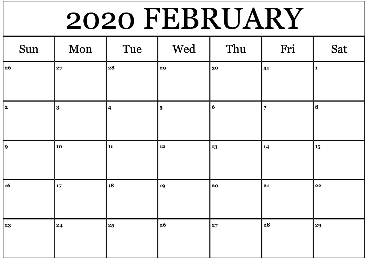 Printable Calendar For February 2020 – Waterproof Paper In regarding Free Printable Calendar 2020 Waterproof