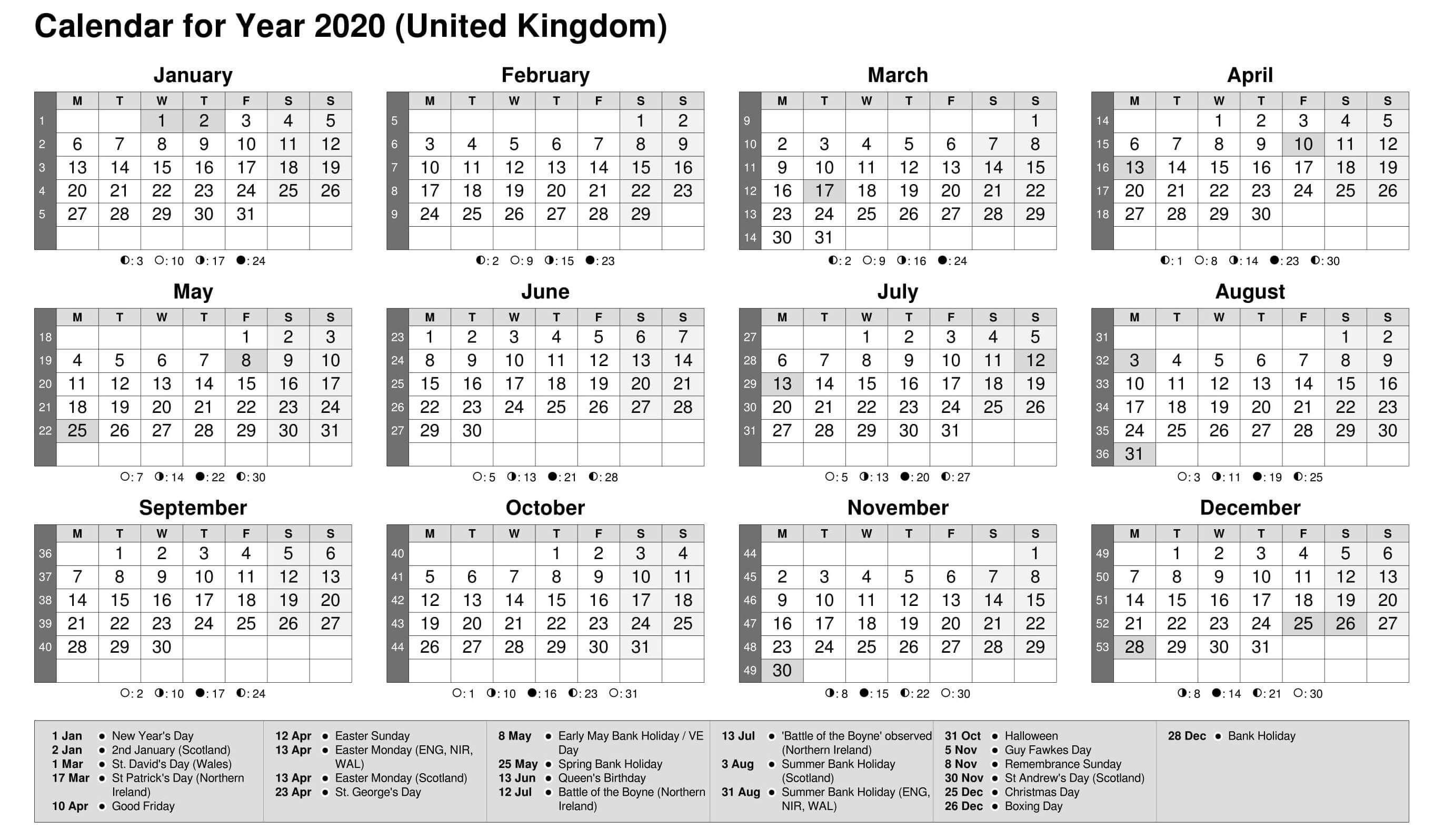 Printable Calendar Year 2020 Holidays Fillable Pdf - Set in 2020 Fiscal Calendar 4 4 5