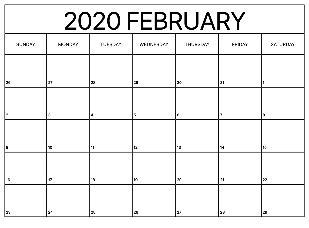 Printable February Calendar For 2020 – Waterproof Paper | 12 inside Free Printable Calendar 2020 Waterproof