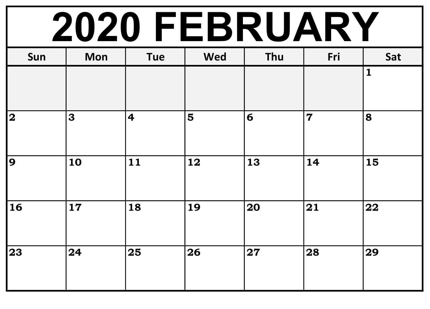 Printable February Calendar For 2020 – Waterproof Paper | 12 within Free Printable Calendar 2020 Waterproof