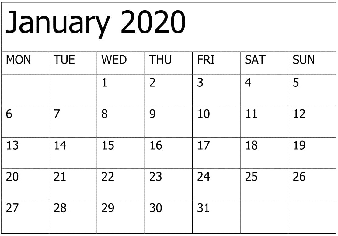 Printable January 2020 Calendar Editable Pages - Free Latest pertaining to Printable Fill In Calendar 2020