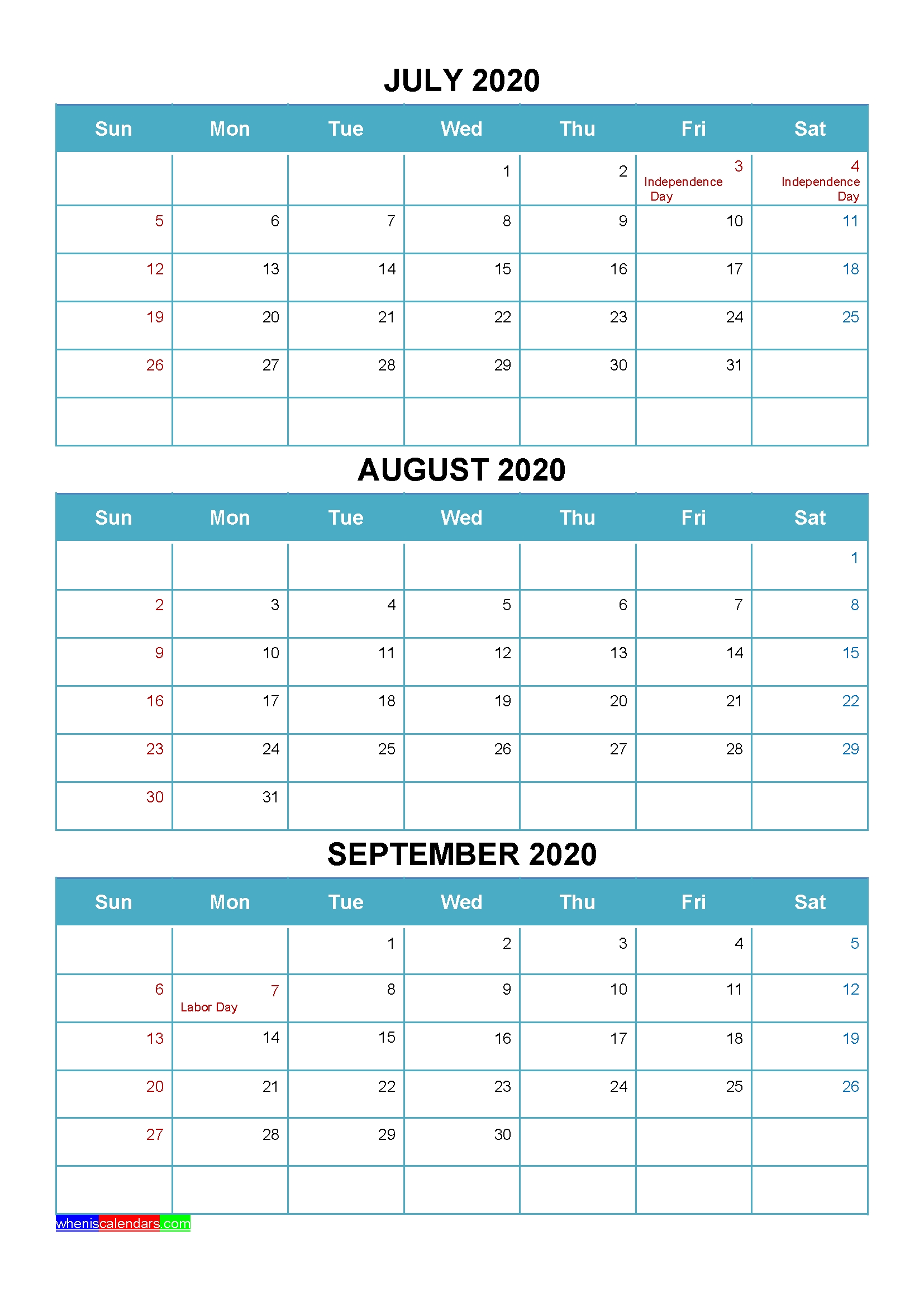 Printable July August September 2020 Calendar Word, Pdf throughout 2020 Printable Quarterly Calendar Template