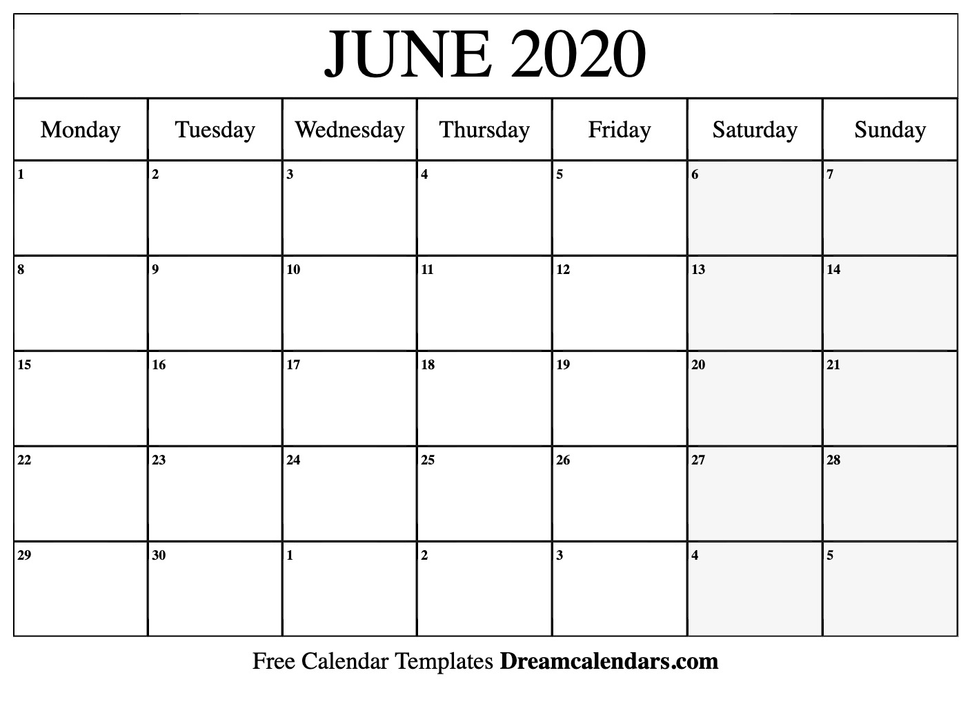 Printable June 2020 Calendar with 2020 Monthly Calendar Start Monday