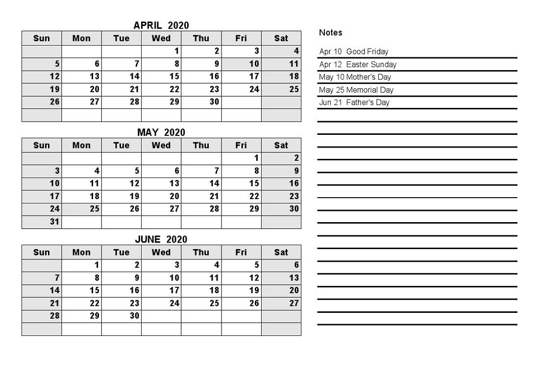 Printable Quarterly Calendar 2020 1St Quarter With Notes in 2020 Printable Quarterly Calendar Template