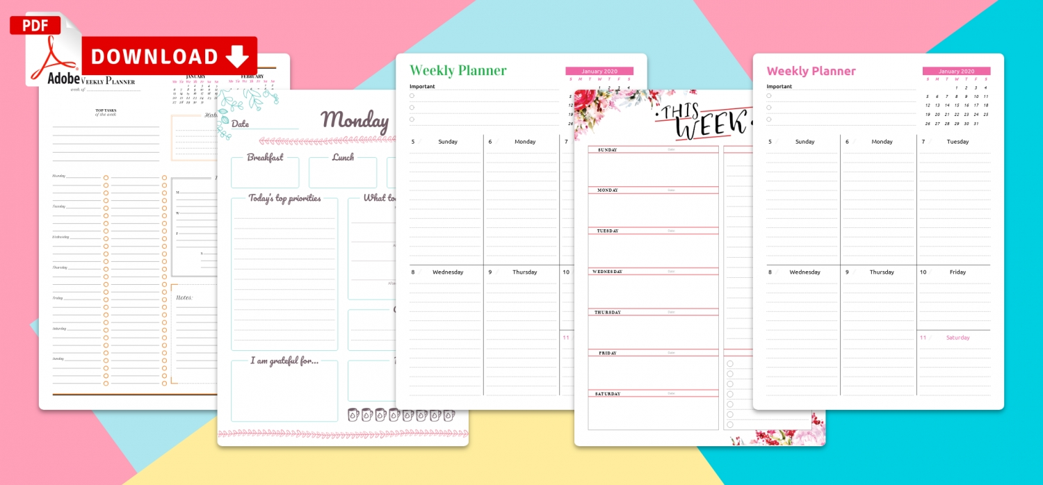 Printable Weekly Planner Templates - Download Pdf intended for Weekly Planner With Times Pdf