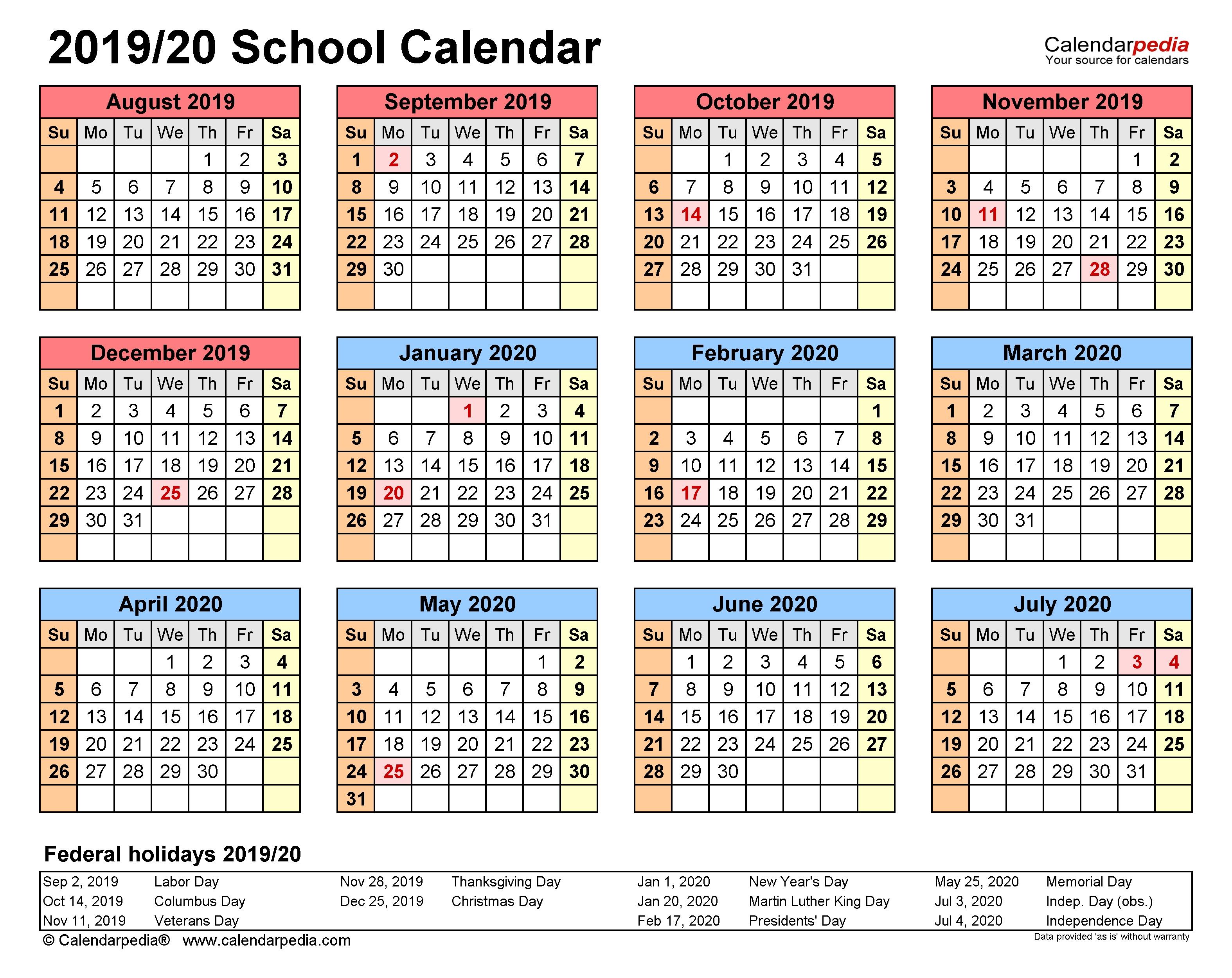 School Calendars 2019/2020 - Free Printable Word Templates within Free Printable Academic Calendar 2019-2020