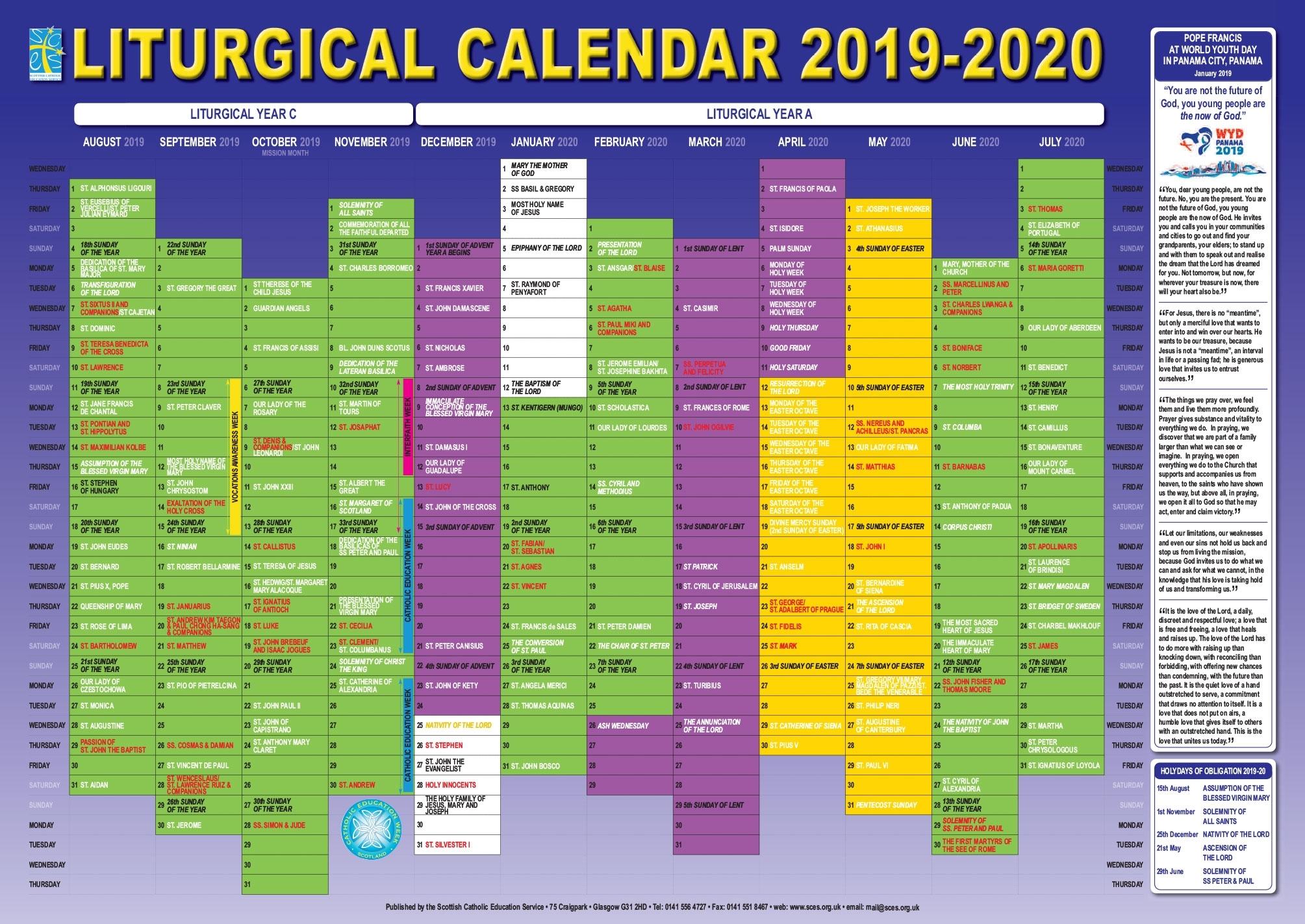 Scottish Catholic Education Service | Sces | Liturgical for Liturgical Calendar 2019 2020 Catholic