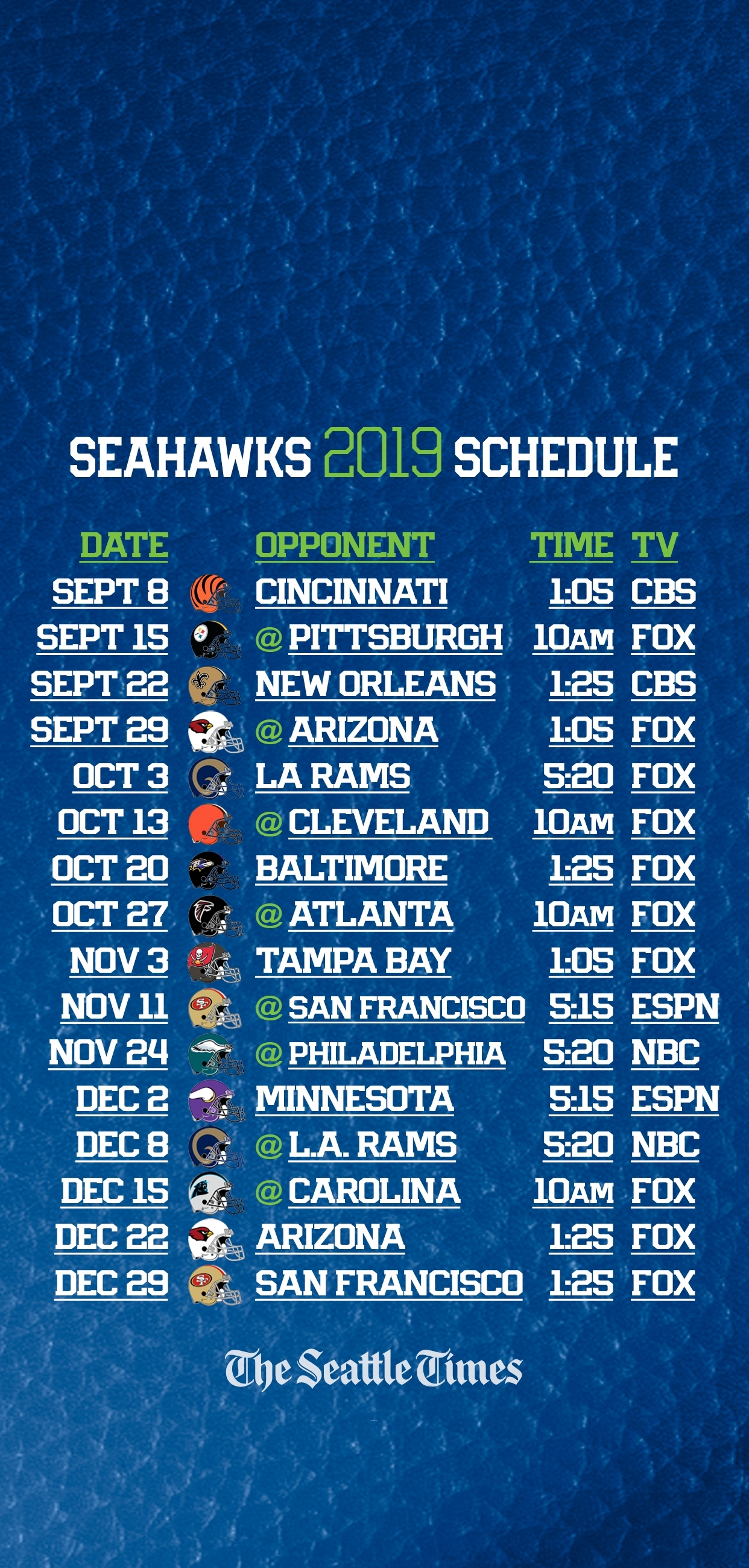 Seahawks 2019 Regular-Season Schedule Is Set — Seattle Will for Printable Nfl Schedule 2019 2020