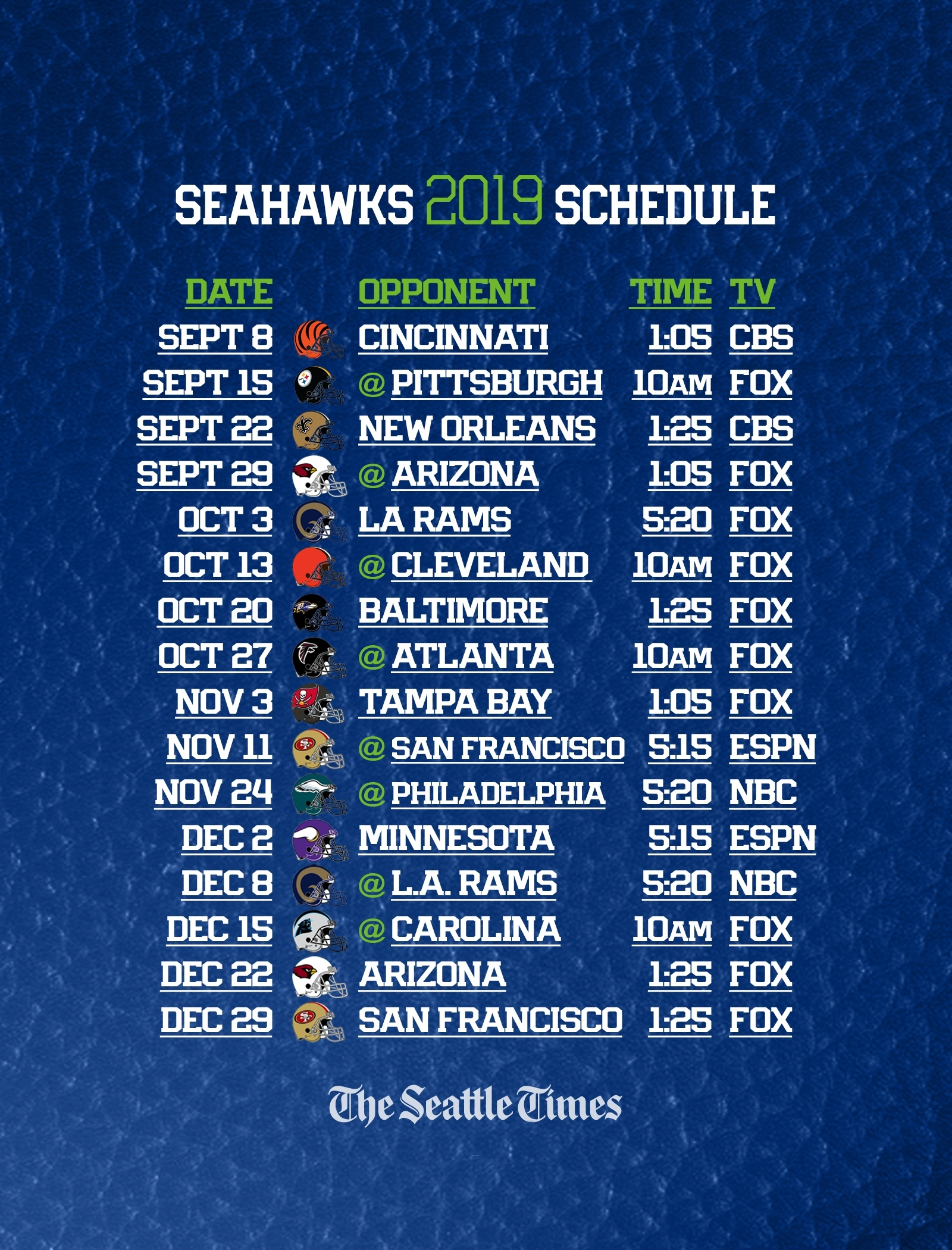 Seahawks 2019 Regular-Season Schedule Is Set — Seattle Will with Nfl 2019-2020 Nfl Printable Schedule