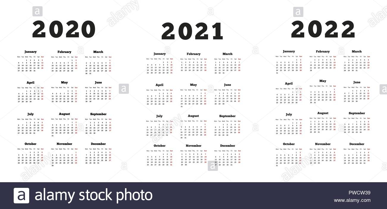 Set Of A4 Size Vertical Simple Calendars At 2020, 2021, 2022 intended for Calendars In 2020 2021 And 2022