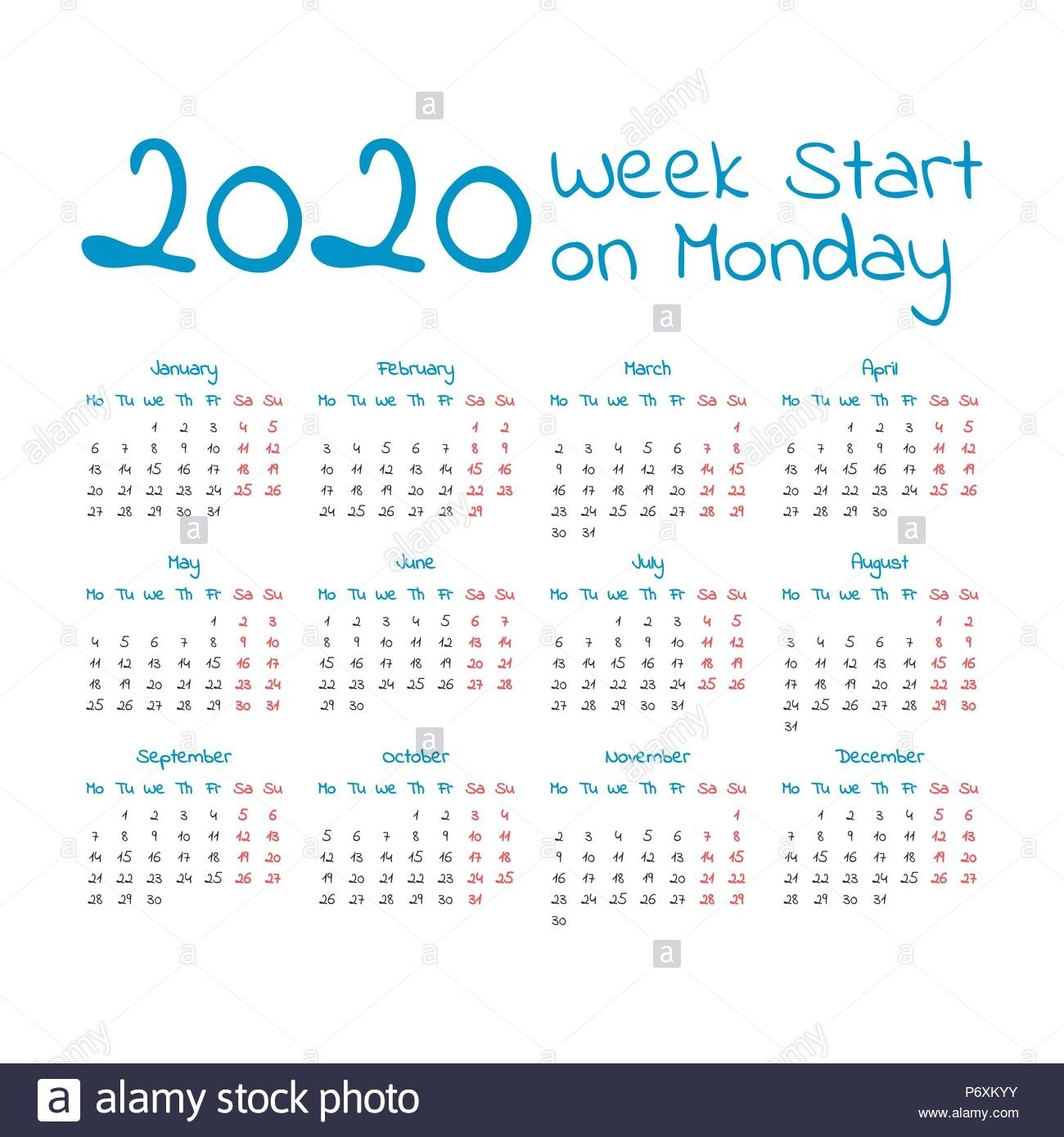 Simple 2020 Year Calendar, Week Starts On Monday Stock inside 2020 Calendar That Starts With Monday
