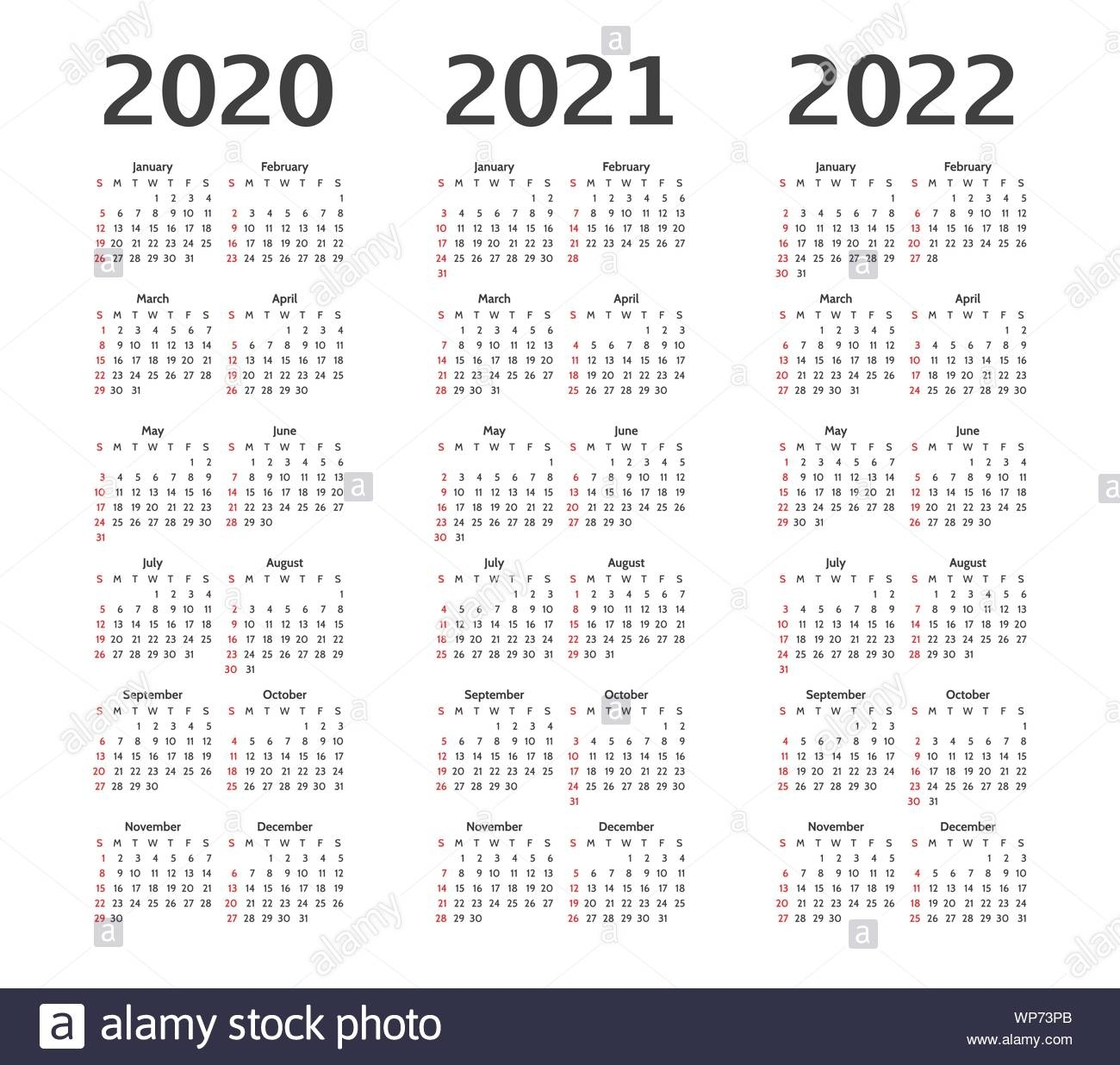 Simple Calendar Layout For 2020, 2021, 2022 Years. Week throughout Calendars In 2020 2021 And 2022