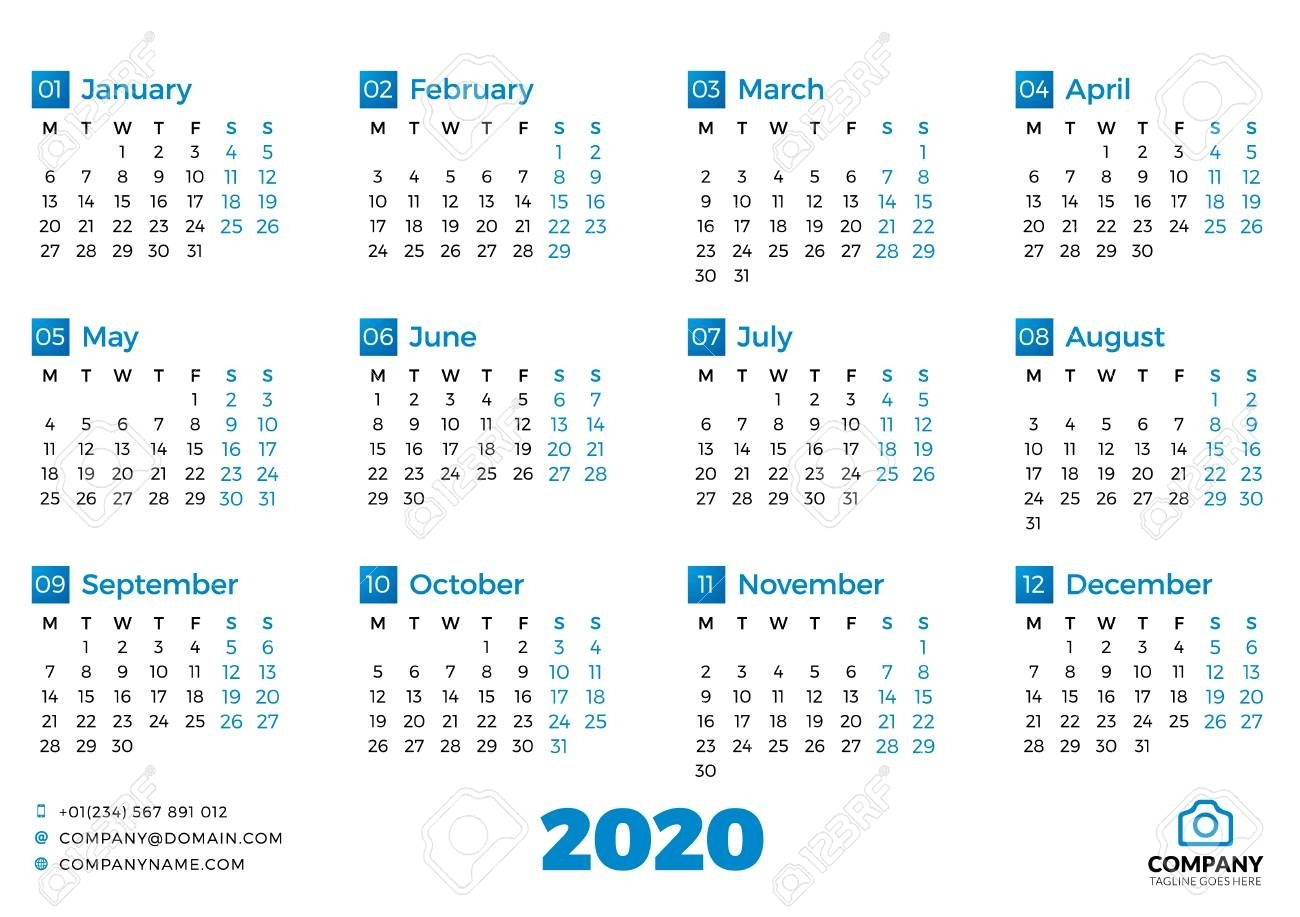 Simple Calendar Template For 2020 Year. Week Starts On Monday with 2020 Calendar With Monday Start Week