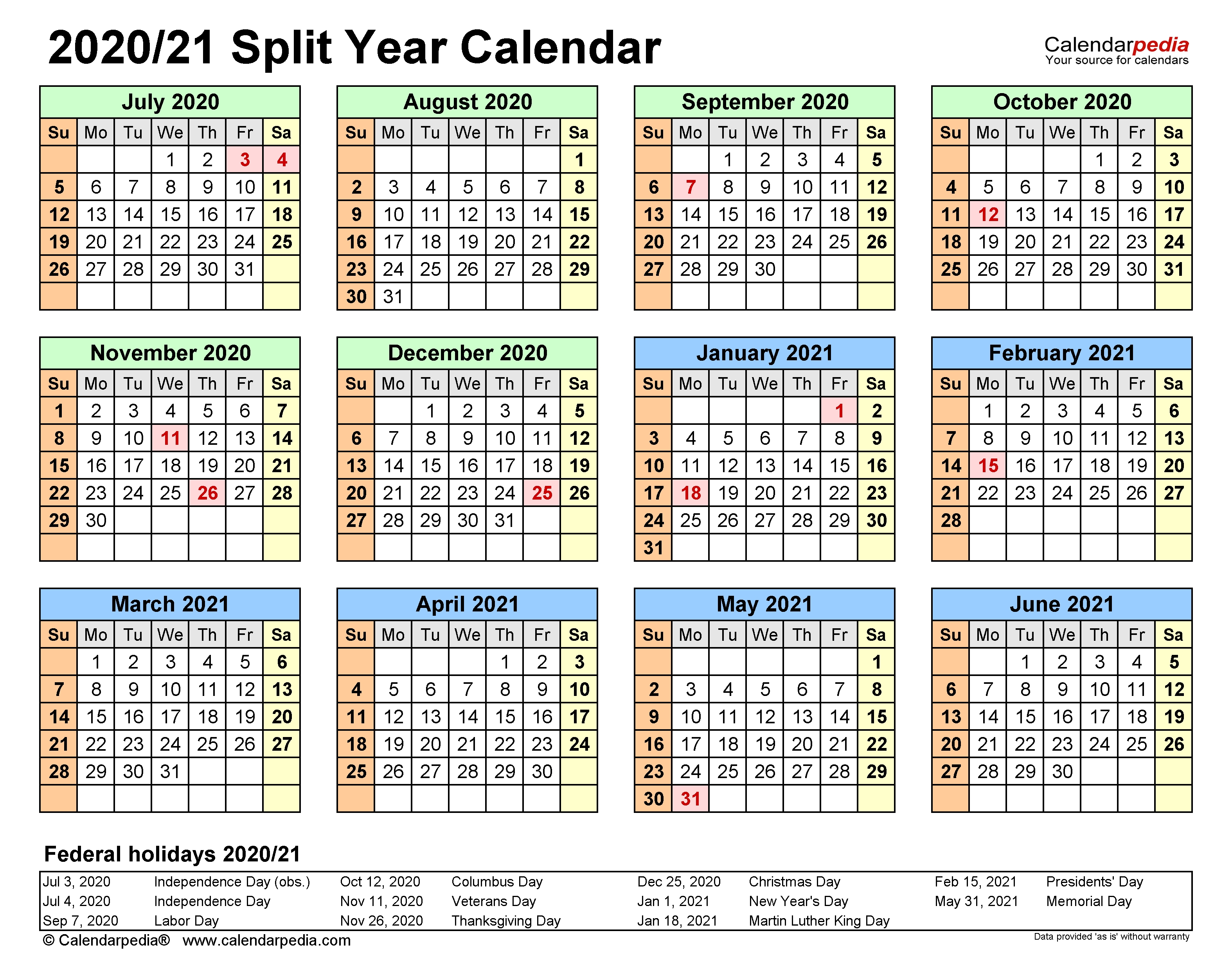 Split Year Calendars 2020/2021 (July To June) - Excel Templates with regard to Free Printablehalf Page Calendars 2020