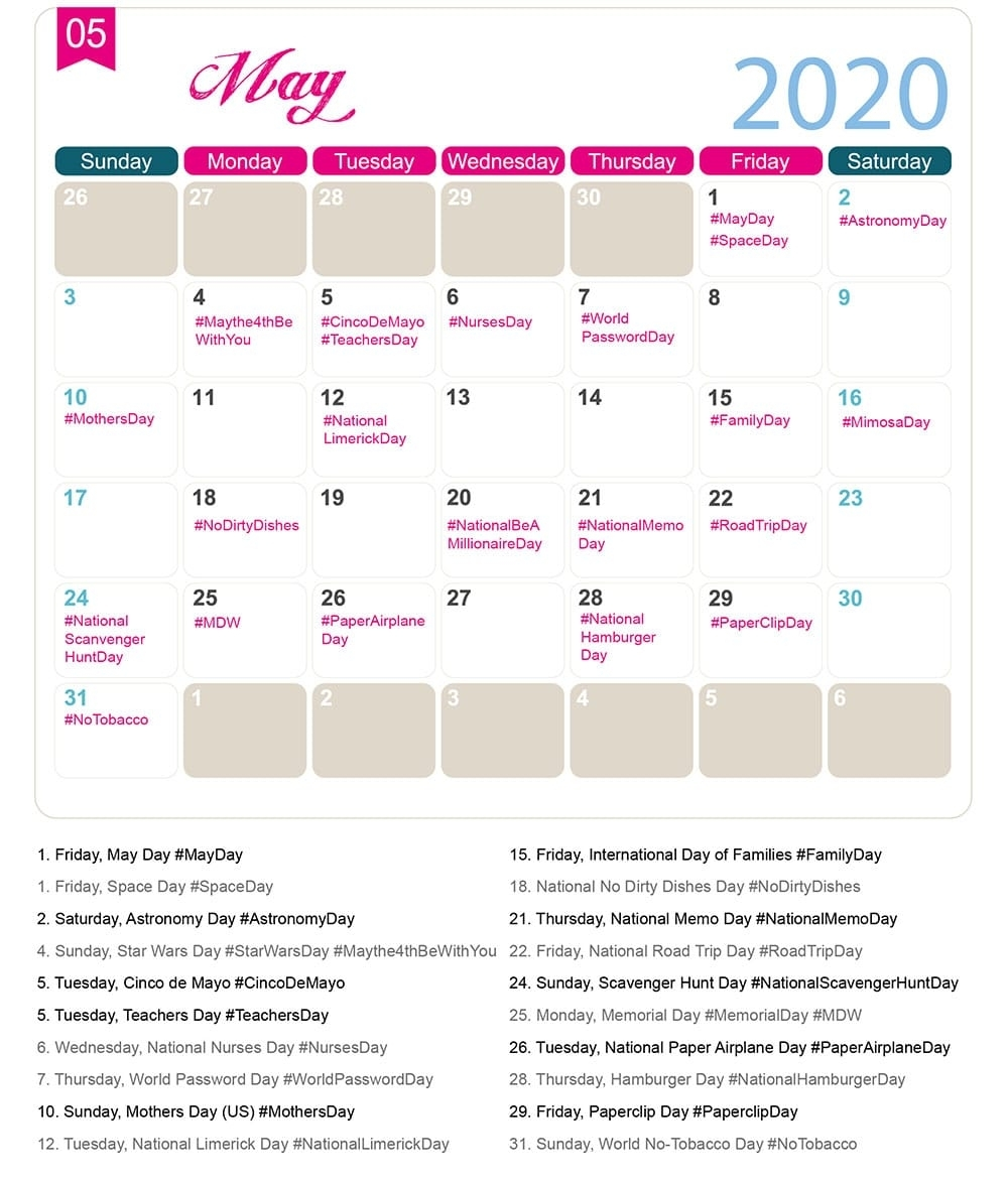 The 2020 Social Media Holiday Calendar - Make A Website Hub with regard to Special Days On Calender For 2020