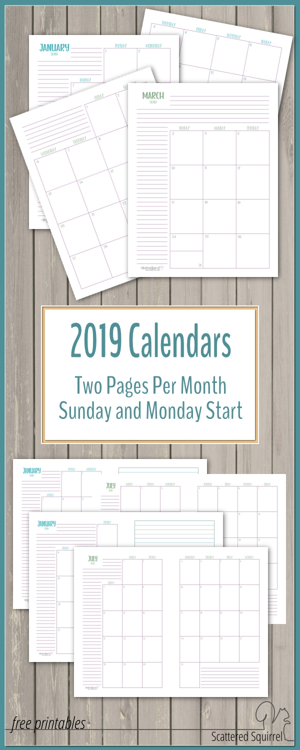 The Two Pages Per Month 2019 Calendars Are Ready for Free Printablehalf Page Calendars 2020